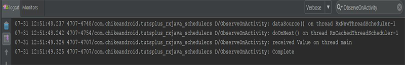 Android Studio logcat result showing logs