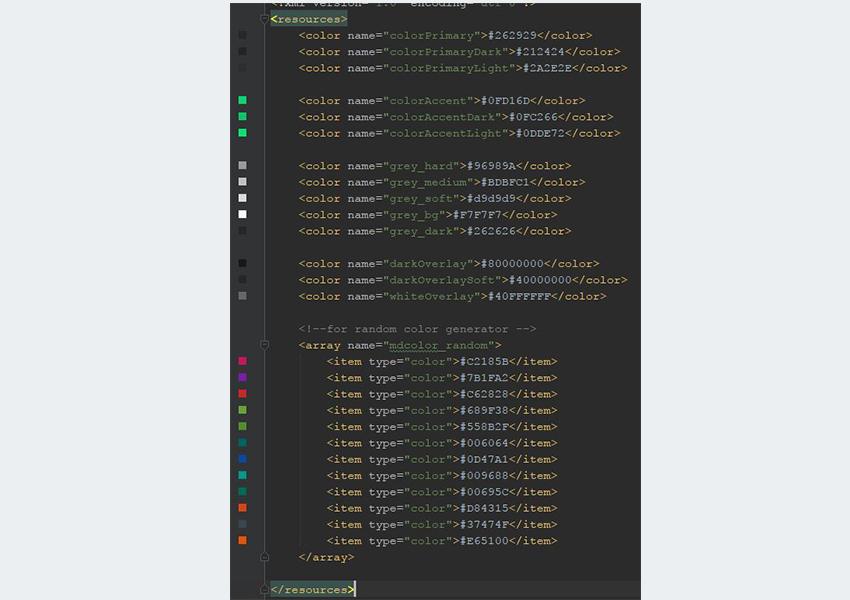 Project colorsxml resource folder