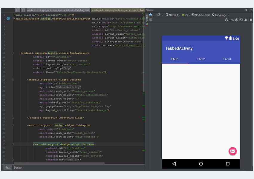 Android Studio XML design view for layout