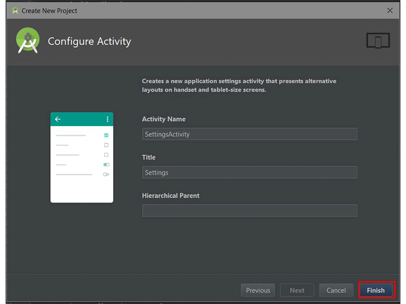 Android Studios Configure Activity dialog