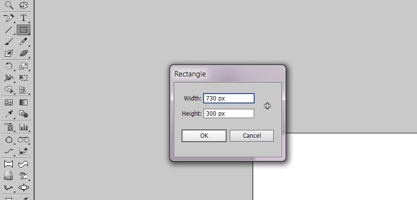 Create a 730x300 rectangle
