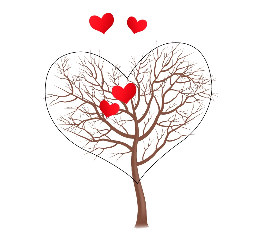 Two hearts in the center of the tree