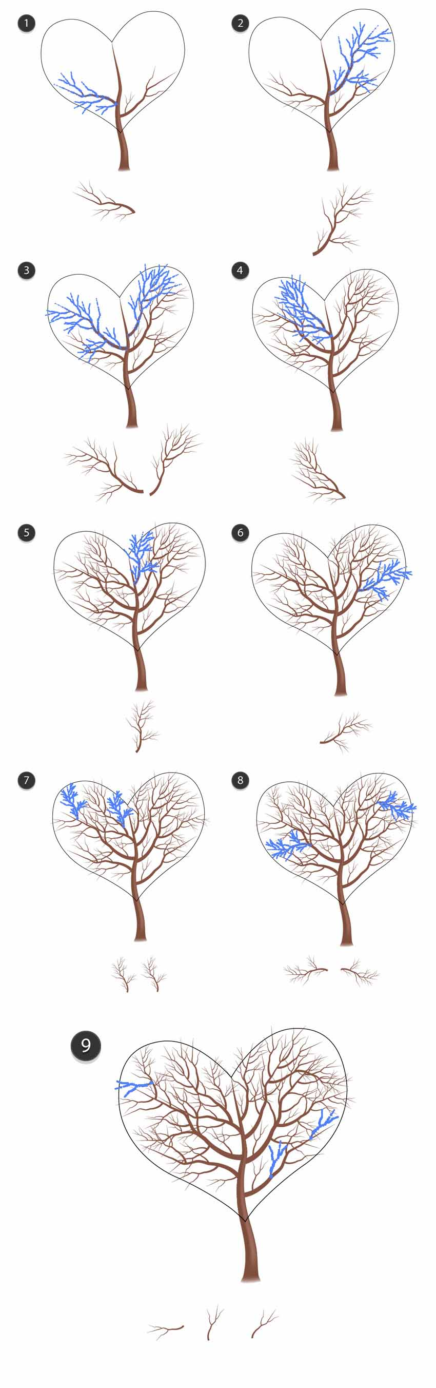 Complete the tree with different branches following the heart shape