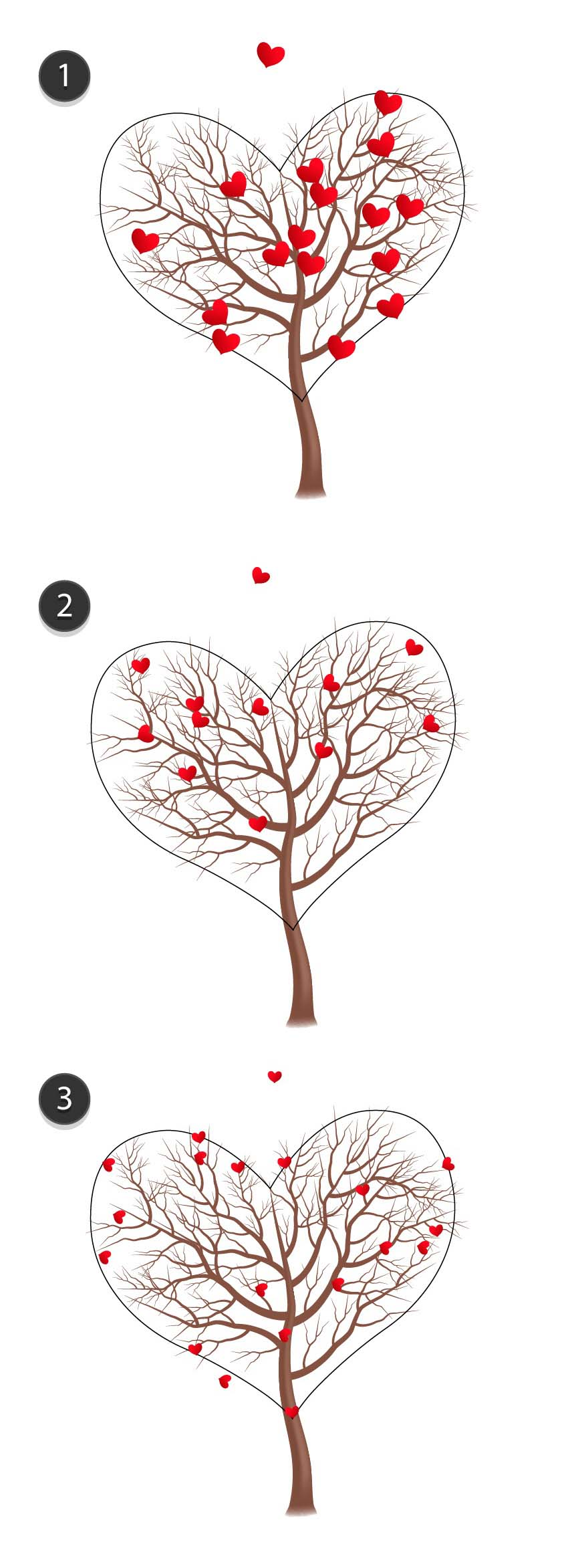 Three groups of hearts the smaller they are the more of them are placed onto the tree