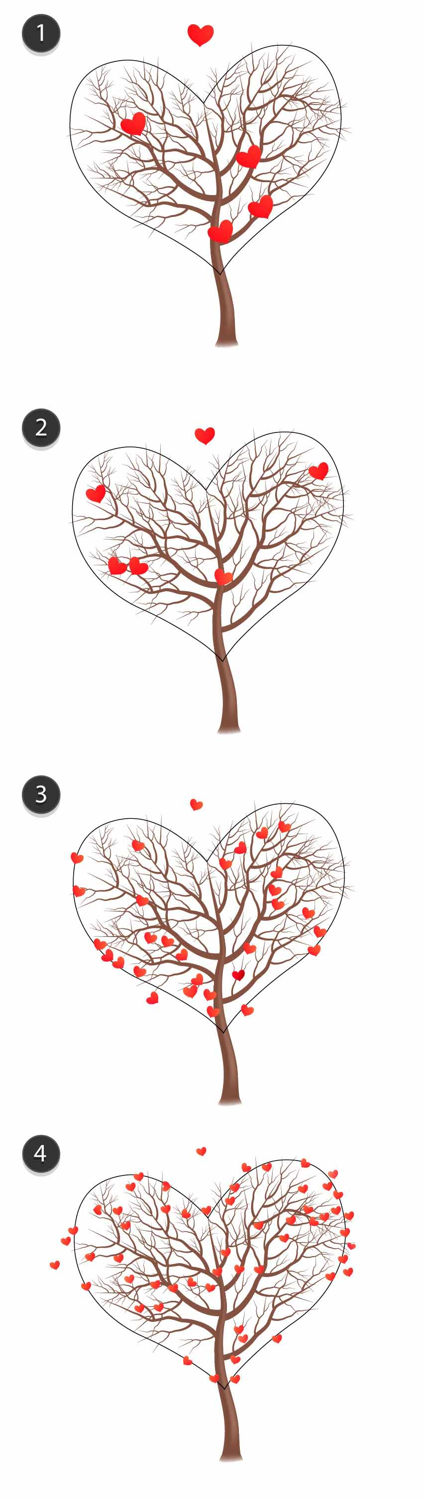 Four groups of hearts the smaller they are the more of them are placed onto the tree