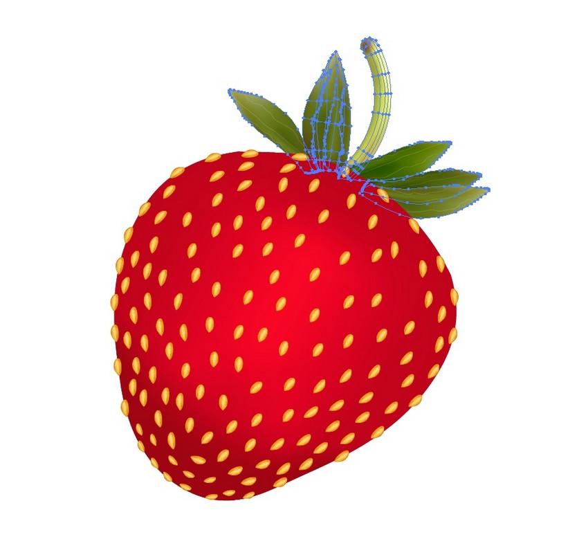 add the leaves to the strawberry