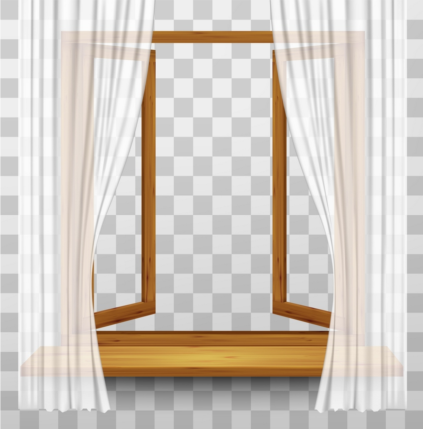 Wooden Window Frame with Curtains on a Transparent Background