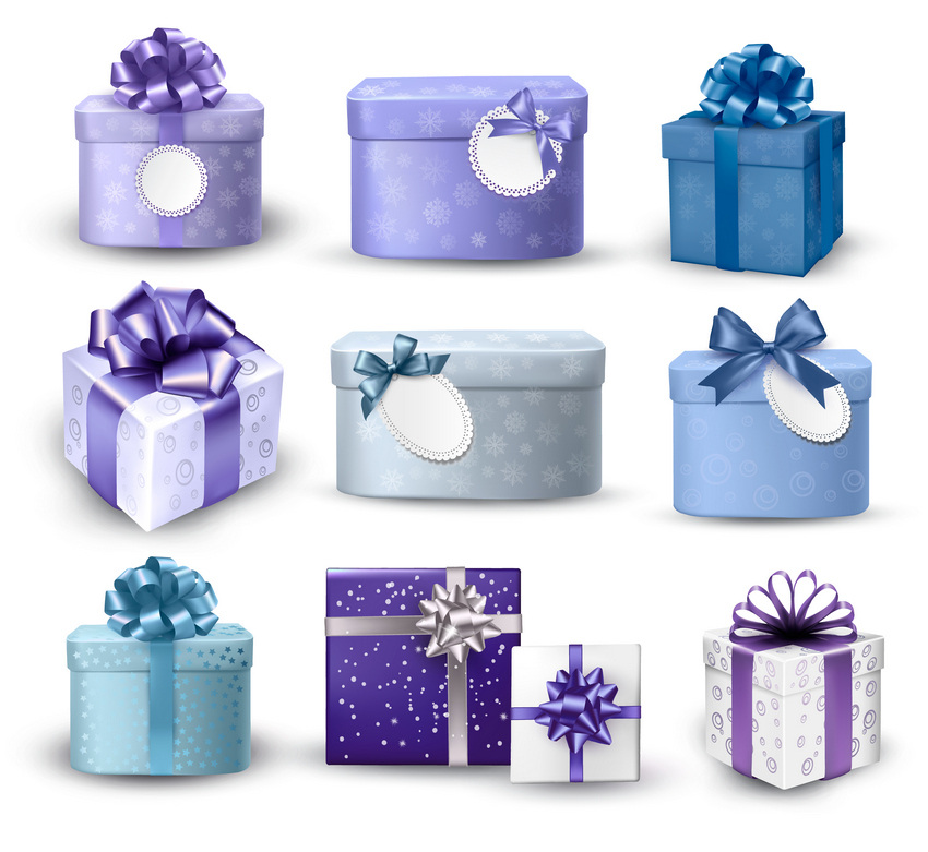 set of violet gift boxes