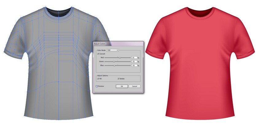 how to recolor a t-shirt template