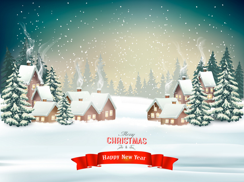 Christmas Holiday Background.How To Create A Christmas Winter Background Design With Mesh