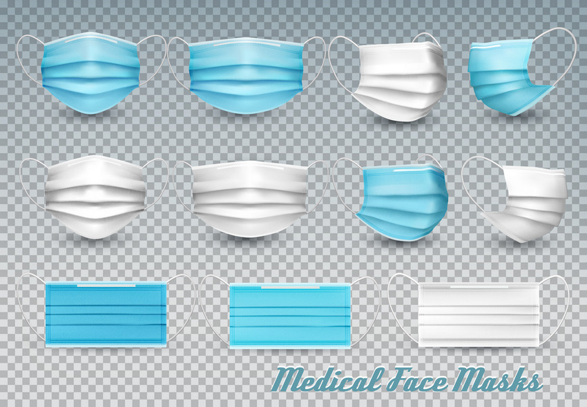Collection of Medical Face Masks Vector