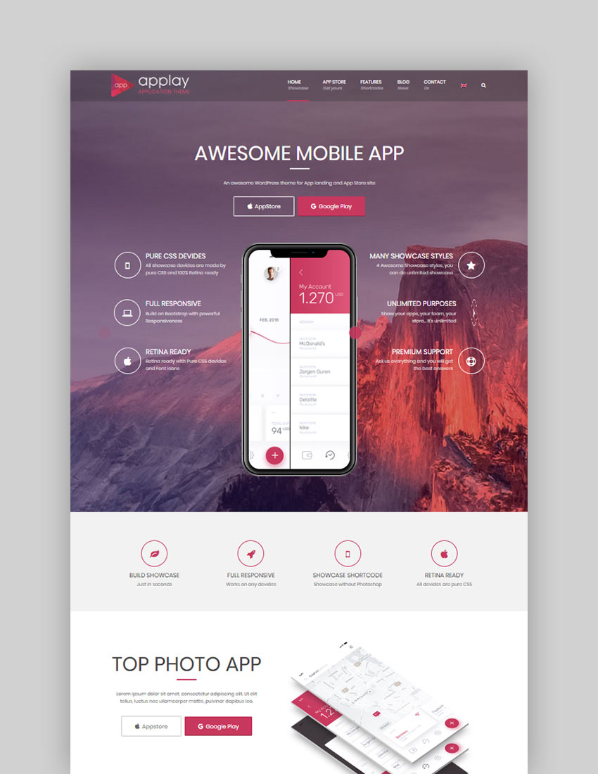 Applay WordPress App Showcase  App Store Theme