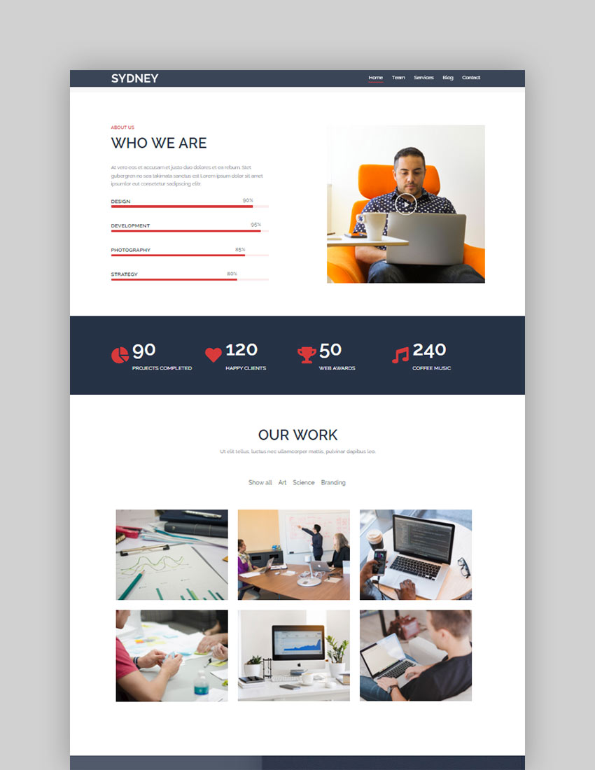 Sydney free download wordpress theme for software company