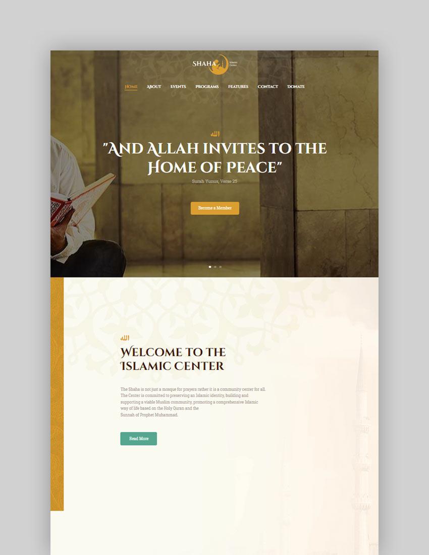 Shaha Islamic Centre  Mosque WordPress Theme  RTL