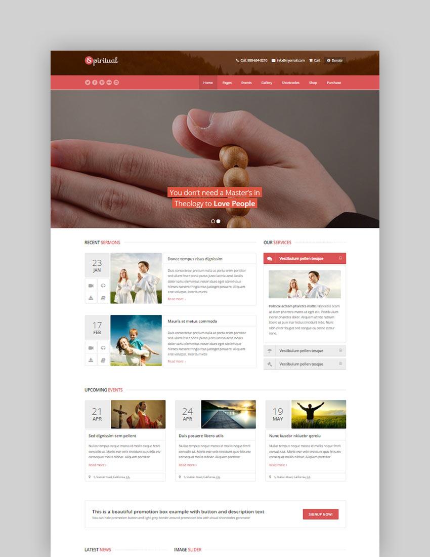Spiritual Church WordPress Theme Responsive