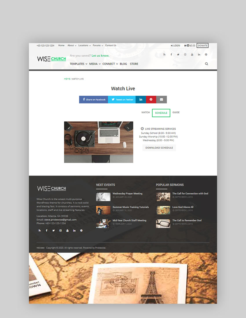 Wise Church Multi-Purpose Online Ministry WordPress Theme