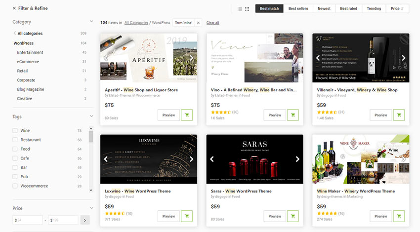Brewery and winery WordPress themes on ThemeForest