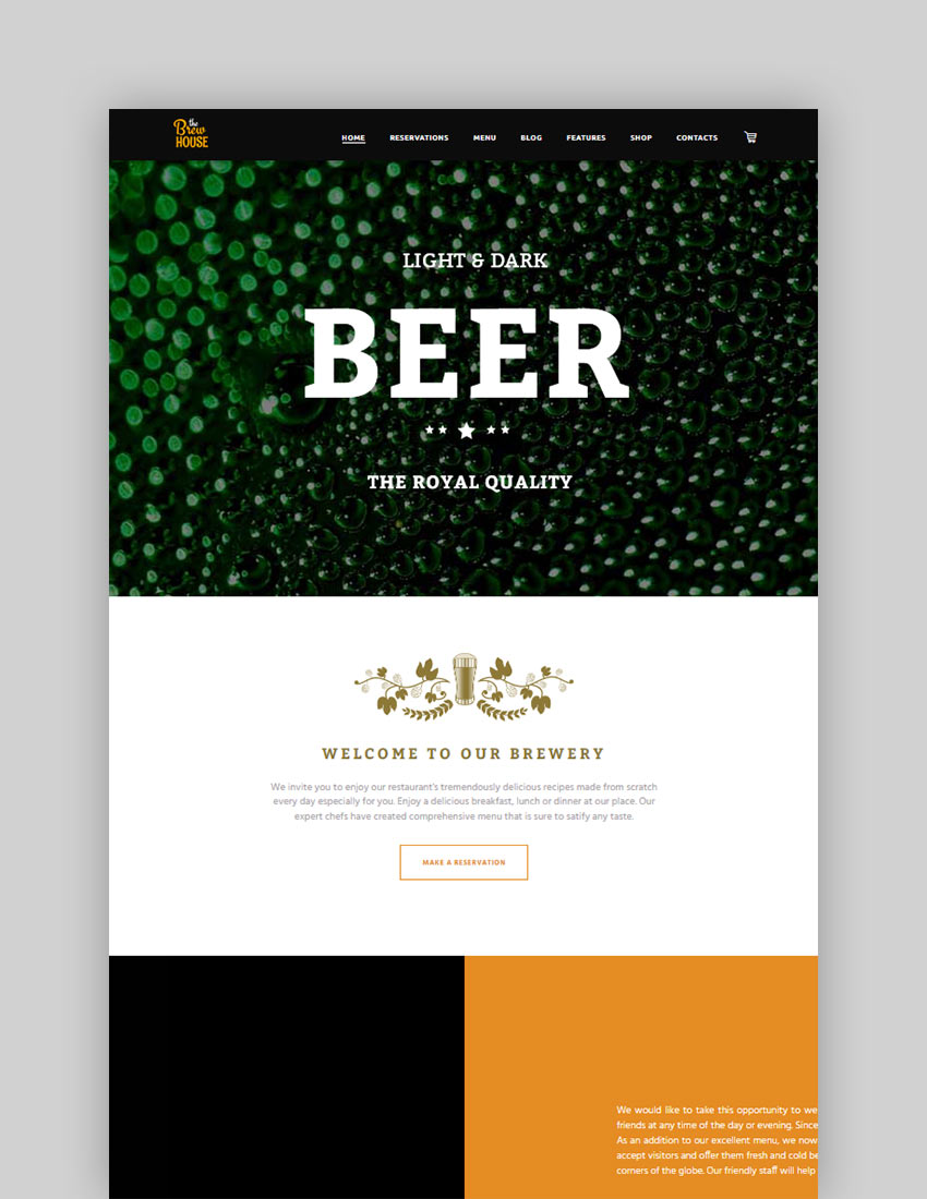 BrewHouse  Brewery  Pub  Restaurant WordPress Theme