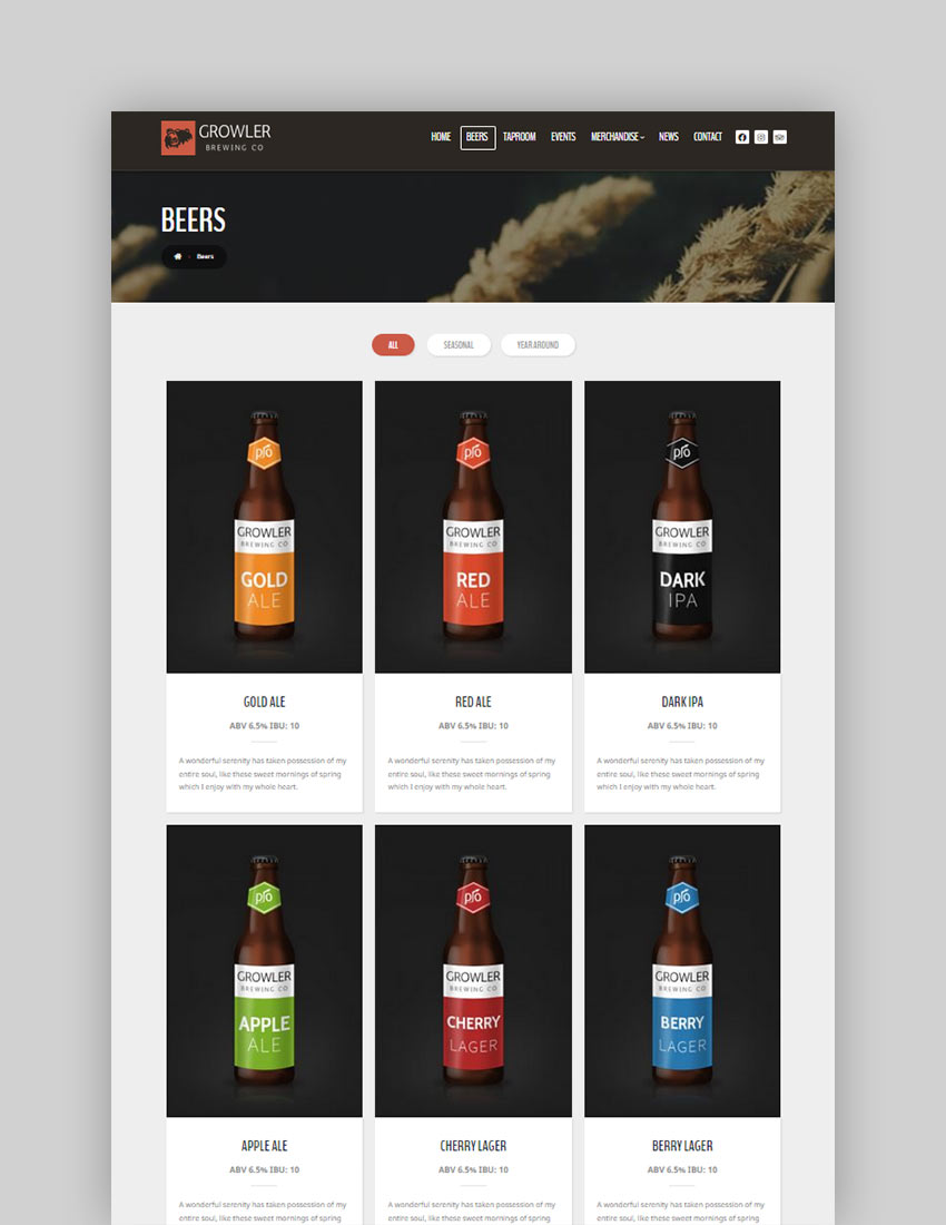 Growler - Brewery WordPress Theme