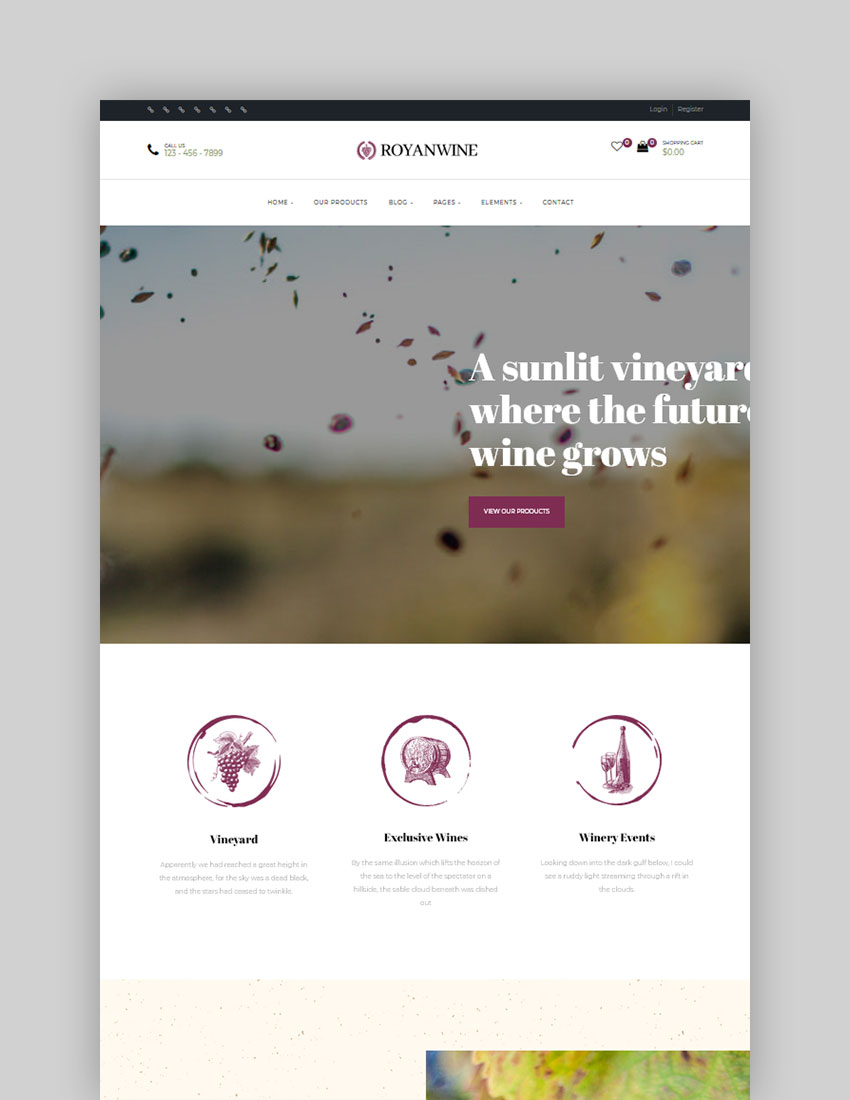 Royanwine - Wine store  Dairy Farm WordPress Theme