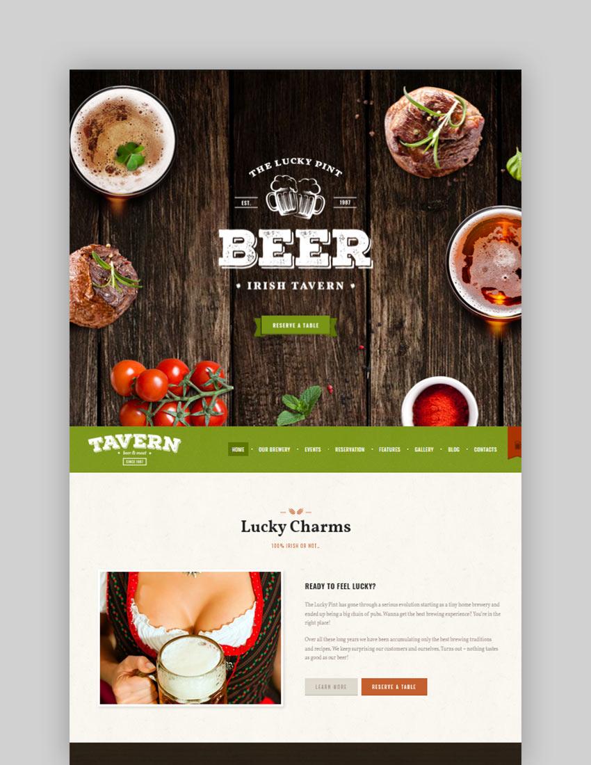 Tavern  Pub  Brewery Restaurant WordPress Theme