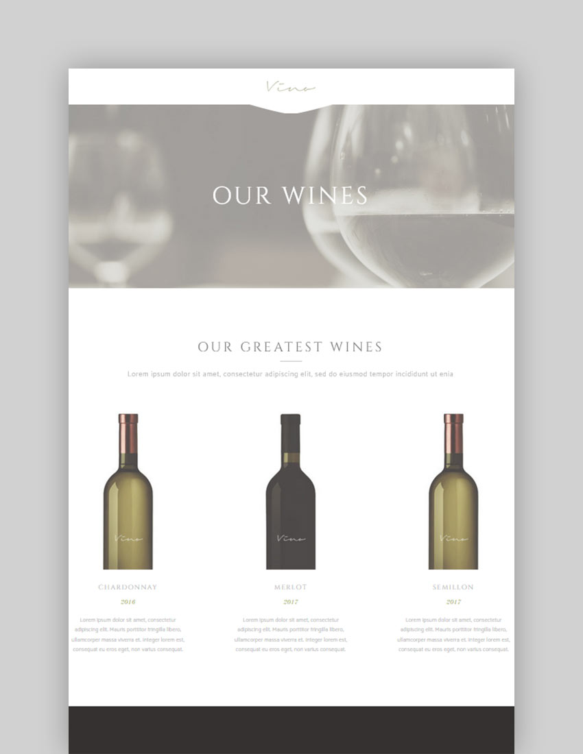 Vino - A Refined Winery Wine Bar and Vineyard Theme