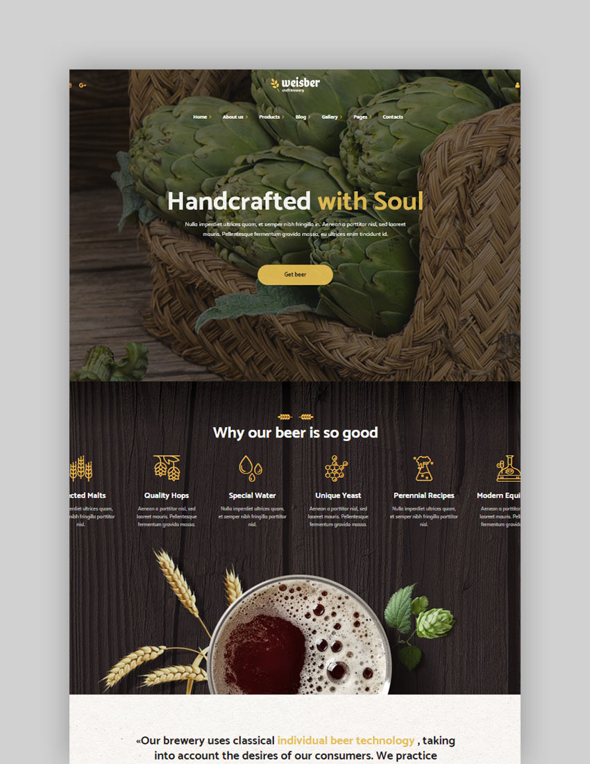 Weisber - Craft Beer  Brewery WordPress Theme