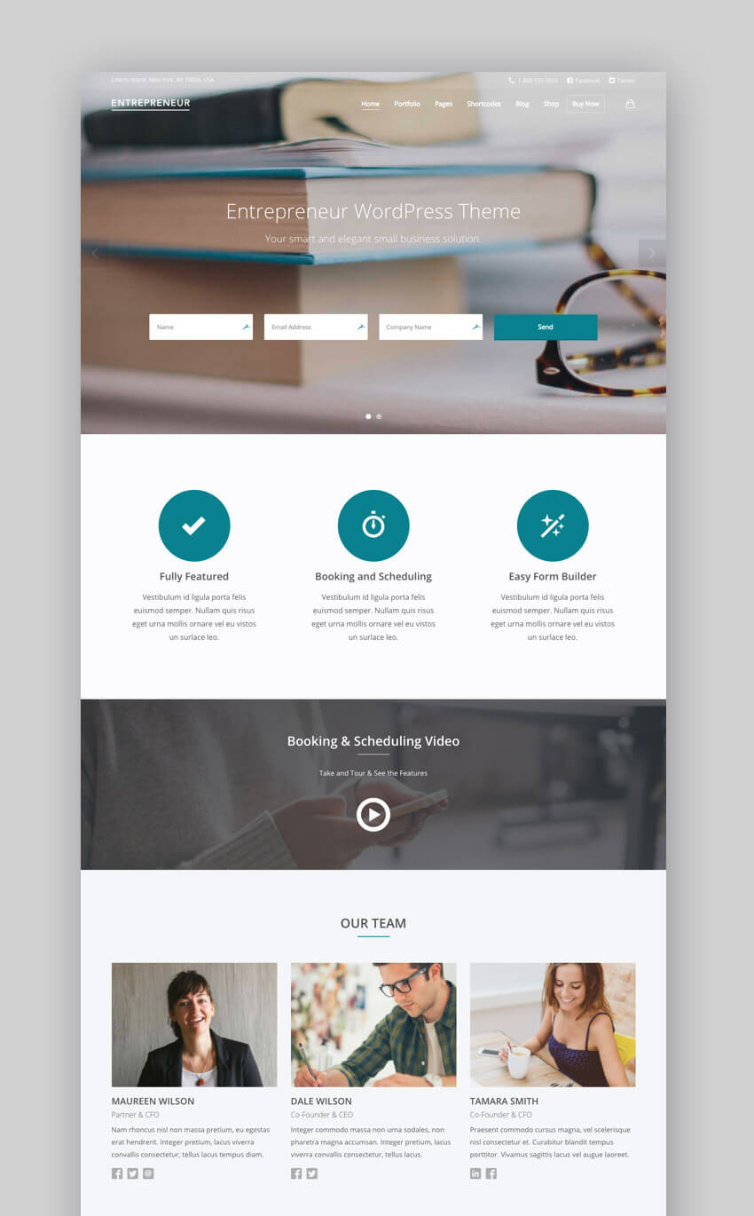 Entrepreneur - Booking Scheduling WordPress Theme for Small Business Websites