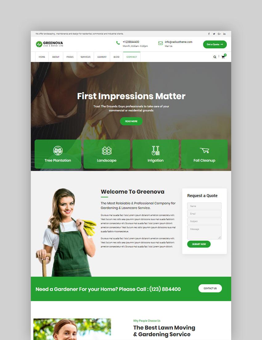 Greenova - Gardening  Landscaping WordPress Theme