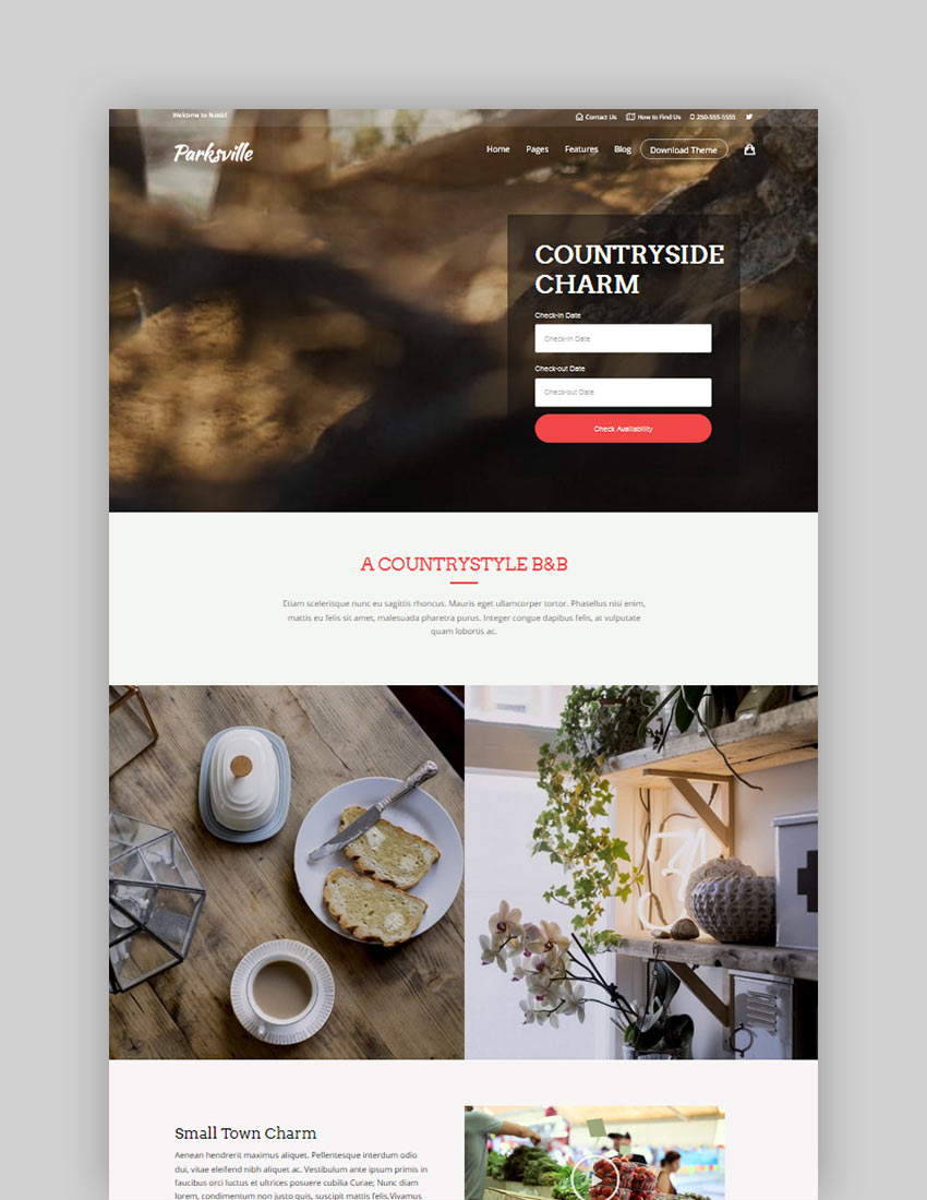 Hotel  Bed and Breakfast Booking Calendar Theme  Bellevue