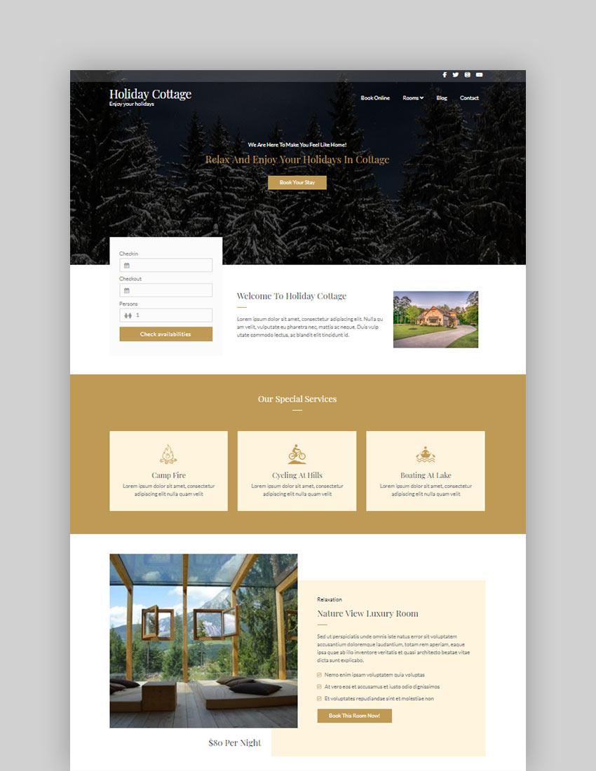 Holiday Cottage Free WordPress Theme
