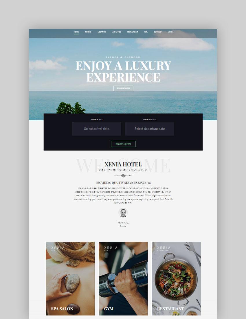 Hotel XENIA - Resort  Booking WordPress Theme