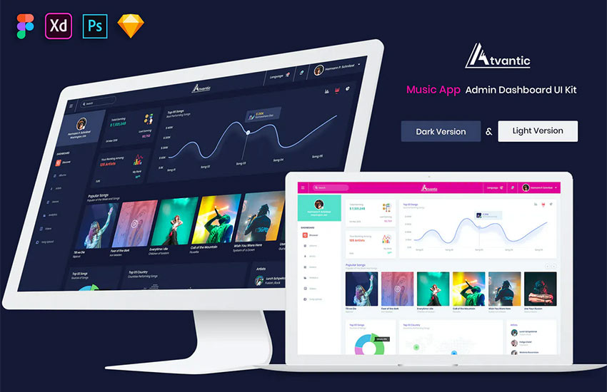 Atvantic - Music App Admin Dashboard UI Kit