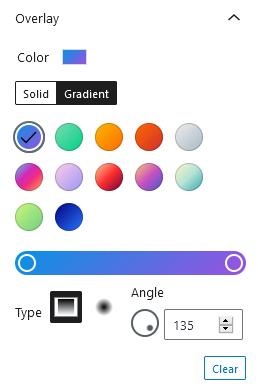 Gutenberg Cover block gradient color settings