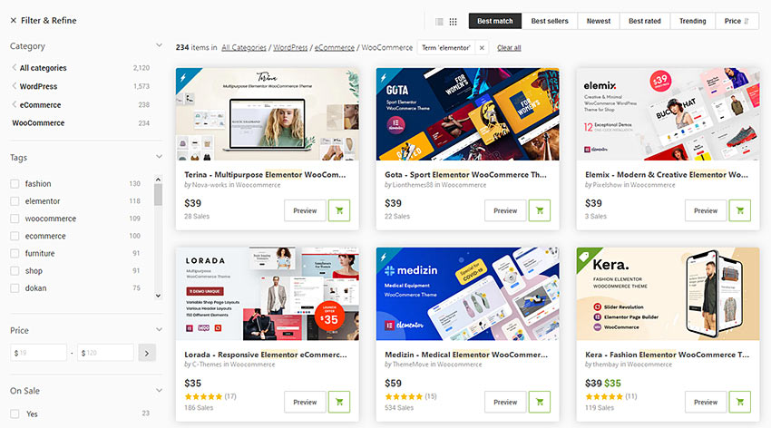 Elementor WooCommerce Theme List on ThemeForest