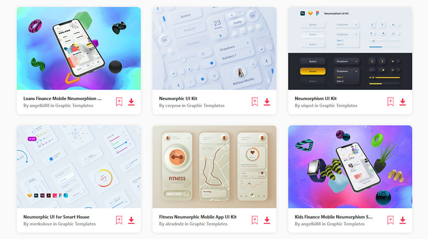 Newmorphic UI Kits available at Envato Elements
