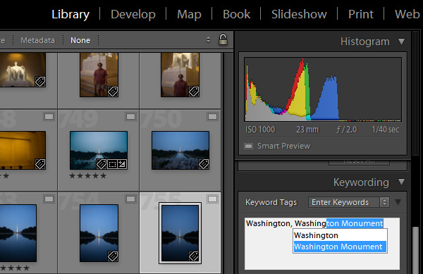 Entering keywords in Lightroom