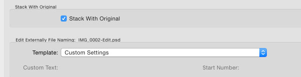 Lightroom external editing settings  file naming section