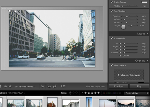 The Lightroom Slideshow Module