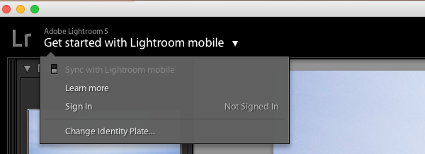 Lightroom Mobile Sign in Image