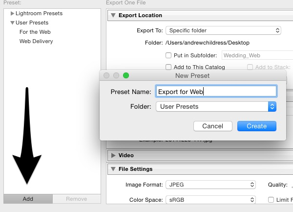 Save Export Preset