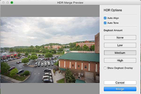 HDR Merge Options