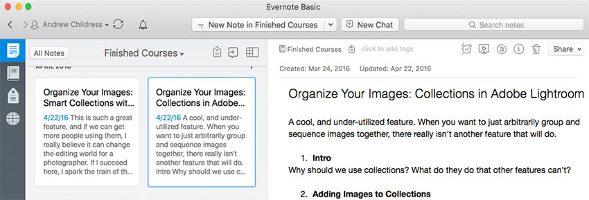 Evernote Screenshot courses in production