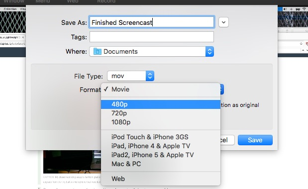 Export Finished Screencast Capto