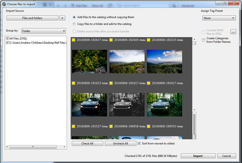 Choose Files to import