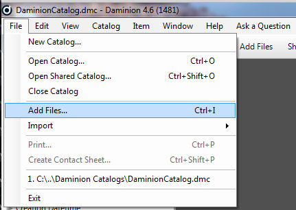 Add Files in Daminion