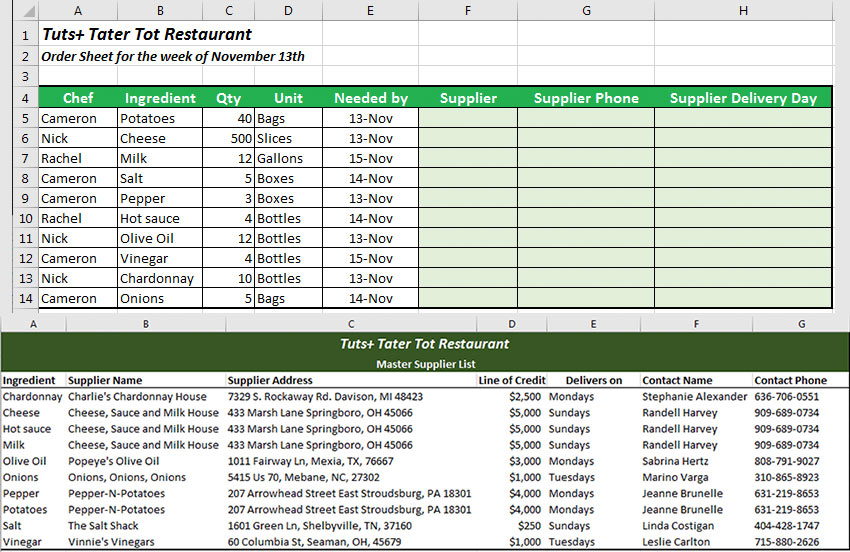 Excel VLOOKUP list ingredient order and supplier list example