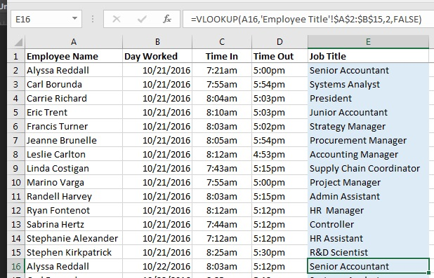 Updated Excel VLOOKUP Formula with Absolute Reference