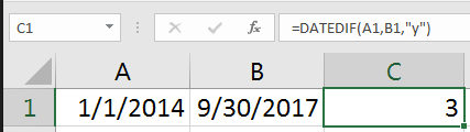 Excel formula for calculating years between dates