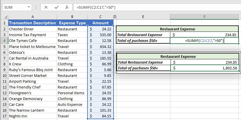 Example SUMIF excel formula